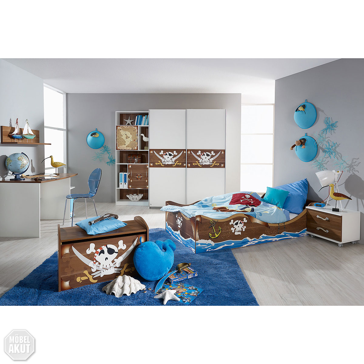 kinderzimmer set iv drake bett schrank schreibtisch regal wei kern nussbaum ebay. Black Bedroom Furniture Sets. Home Design Ideas