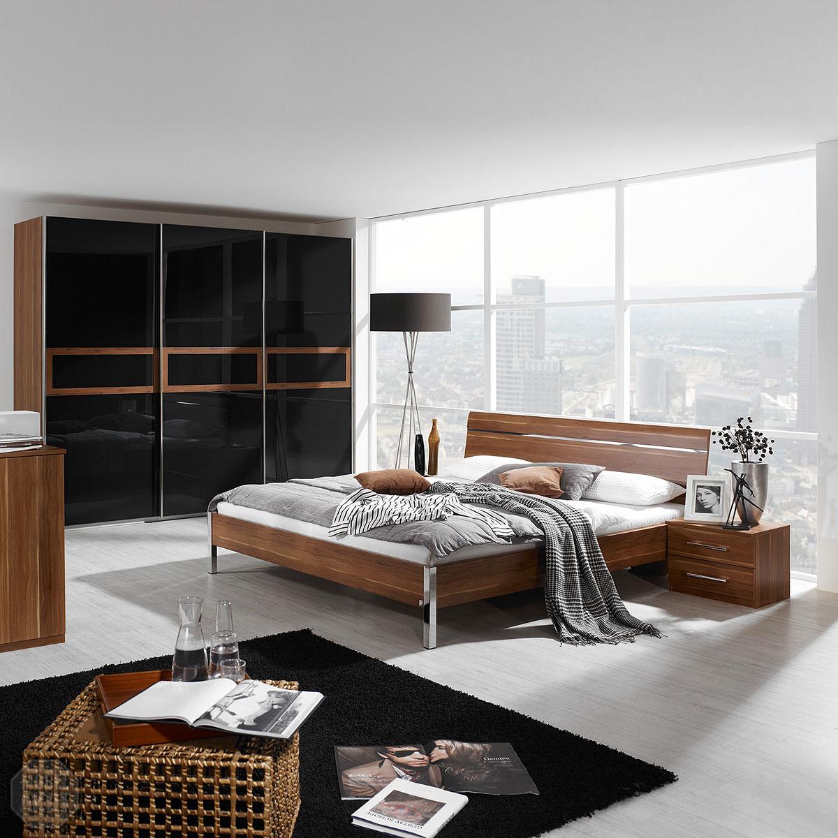 schlafzimmer set perfora bett schrank nachtkommode kern nussbaum basalt chrom ebay. Black Bedroom Furniture Sets. Home Design Ideas
