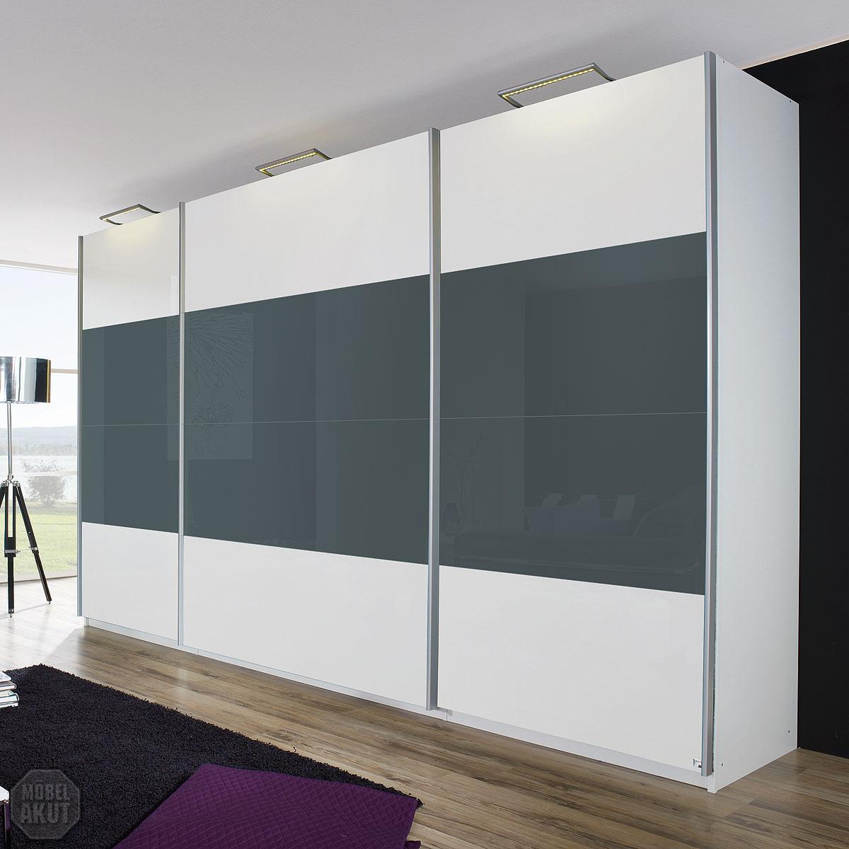 Schwebetürenschrank weiß grau  Lutz Kleiderschrank Weiß: Badezimmer hochschrank weis hochglanz ...
