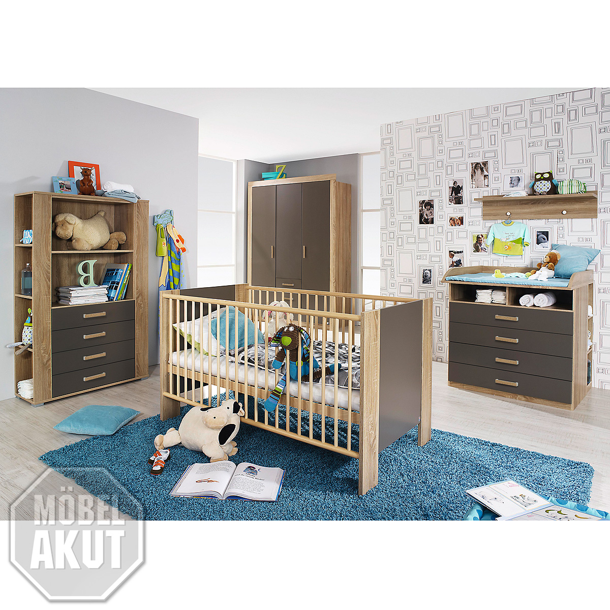 babyzimmer set marie kinderzimmer babym bel sonoma eiche s gerau und lava 3 tlg ebay. Black Bedroom Furniture Sets. Home Design Ideas