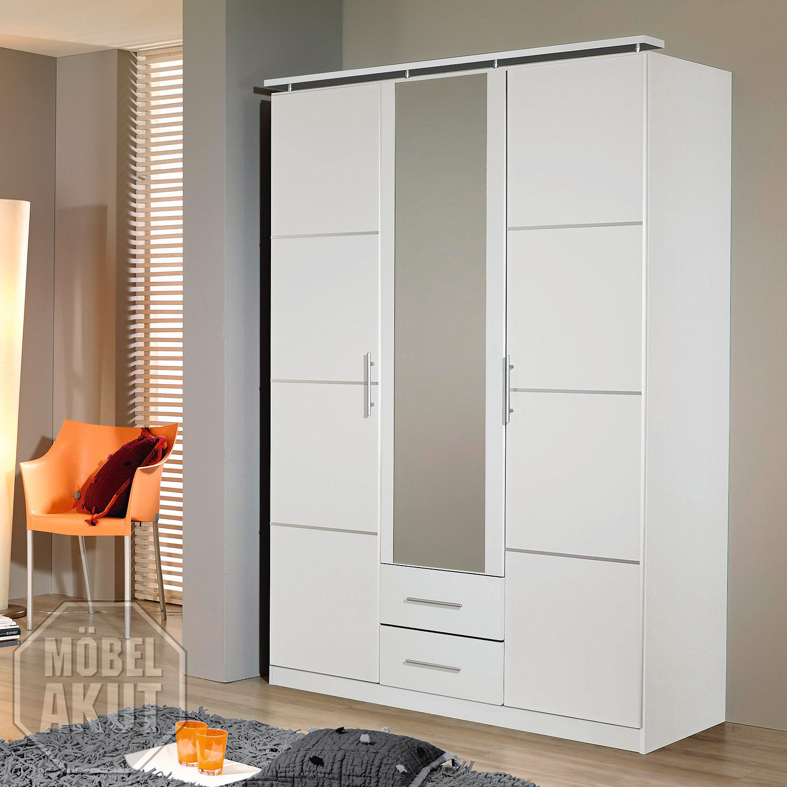 kleiderschrank micro schrank dreht renschrank in wei inkl. Black Bedroom Furniture Sets. Home Design Ideas