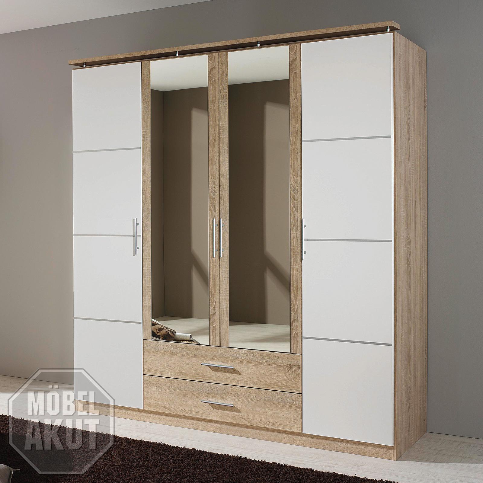 kleiderschrank micro schrank wei und sonoma eiche s gerau inkl spiegel 181 cm ebay. Black Bedroom Furniture Sets. Home Design Ideas