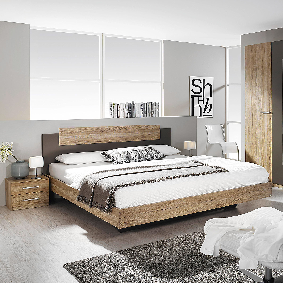 bettanlage borba bett nako eiche sanremo hell lavagrau 180x200 cm ebay. Black Bedroom Furniture Sets. Home Design Ideas