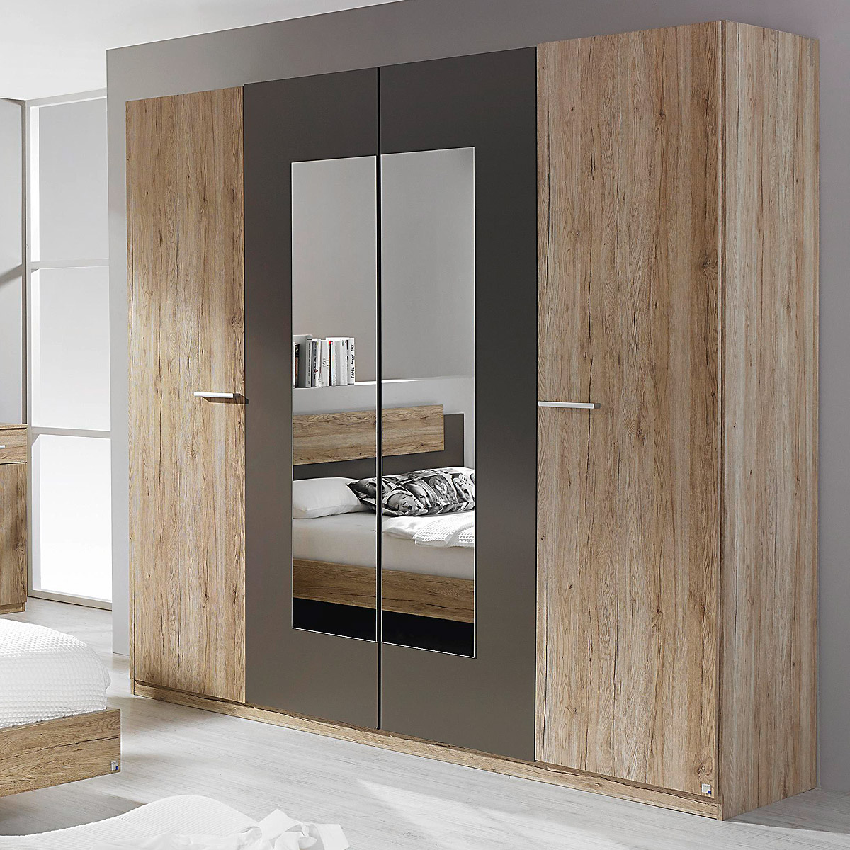 kleiderschrank borba schrank eiche sanremo hell lavagrau. Black Bedroom Furniture Sets. Home Design Ideas