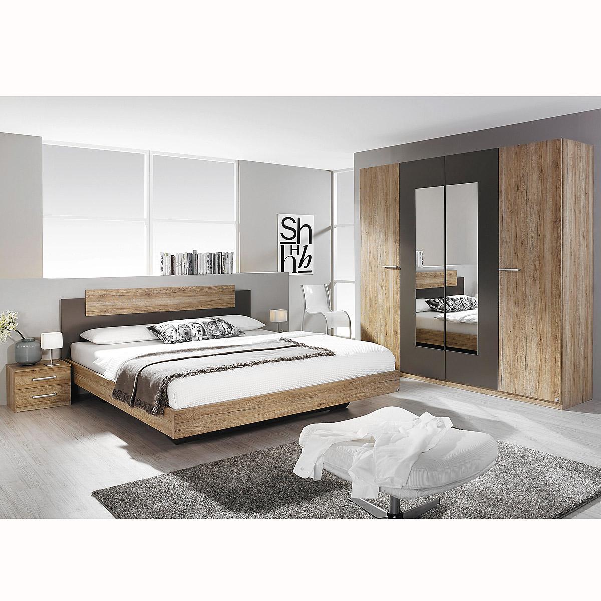 schlafzimmer set borba bett nakos kleiderschrank eiche sanremo hell lavagrau eur 399 95. Black Bedroom Furniture Sets. Home Design Ideas