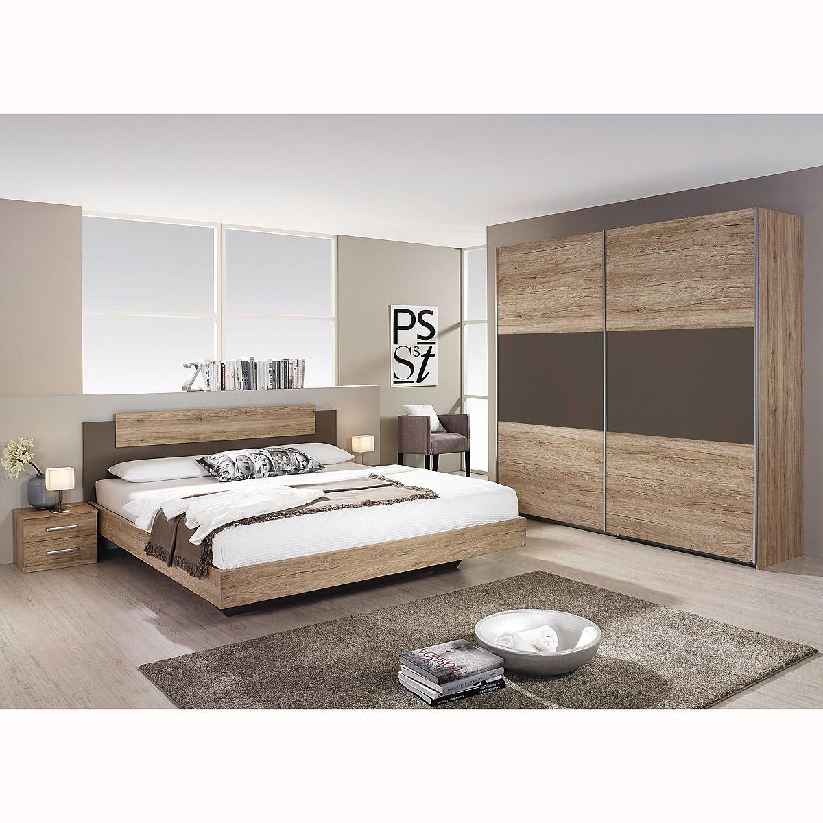 schlafzimmer borba bett nakos kleiderschrank eiche sanremo hell lavagrau ebay. Black Bedroom Furniture Sets. Home Design Ideas