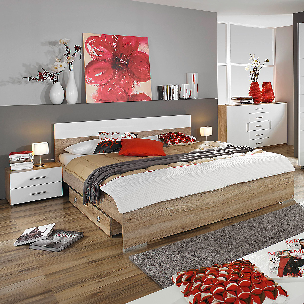 bettanlage lorca bett nako eiche sanremo hell wei hochglanz 180x200 cm. Black Bedroom Furniture Sets. Home Design Ideas