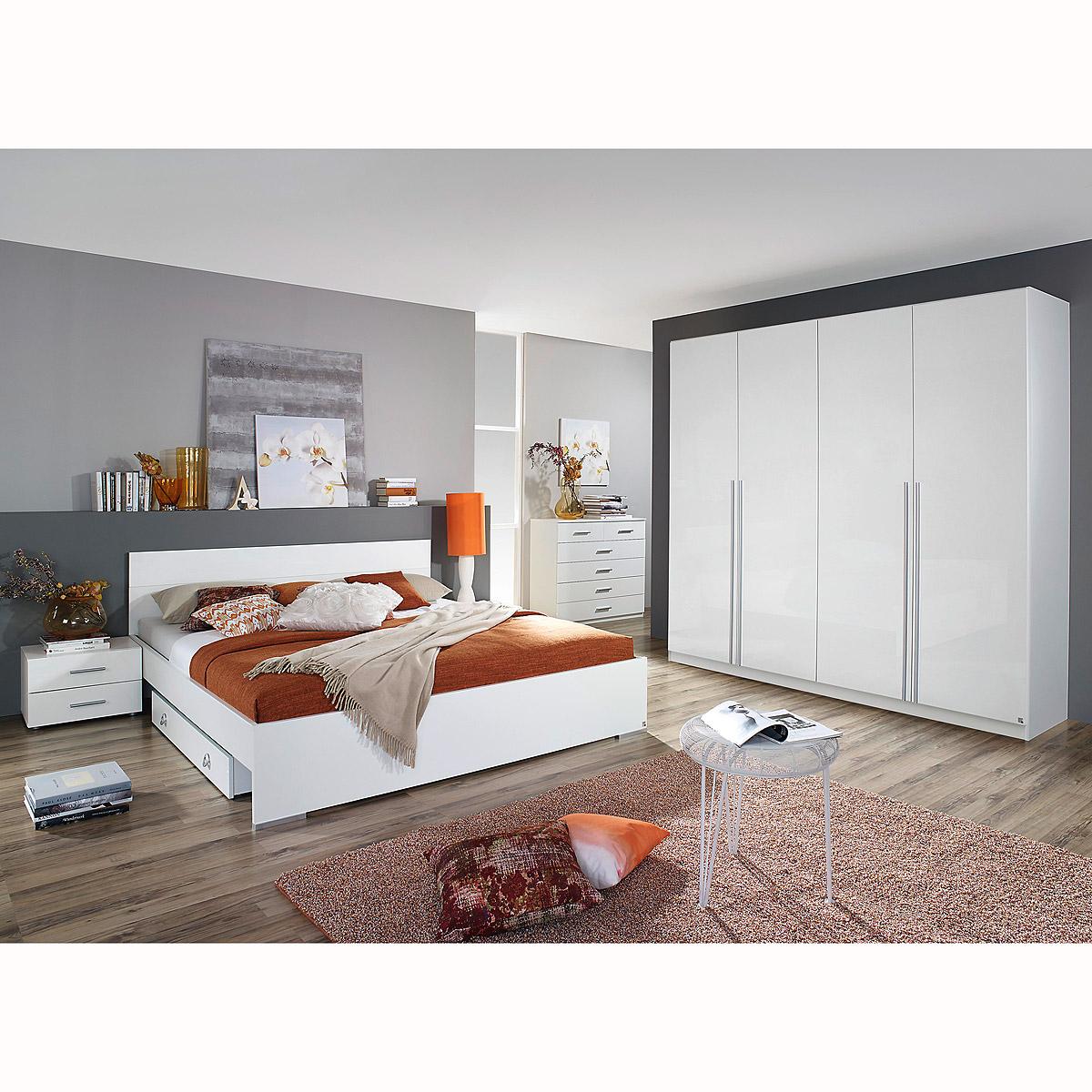 schlafzimmerset lorca bett nako kleiderschrank in wei hochglanz ebay. Black Bedroom Furniture Sets. Home Design Ideas