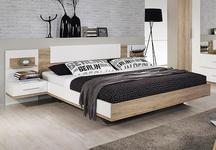 bettanlage bustas bett nako eiche sanremo hell und wei 180x200 cm eur 269 95 picclick de. Black Bedroom Furniture Sets. Home Design Ideas