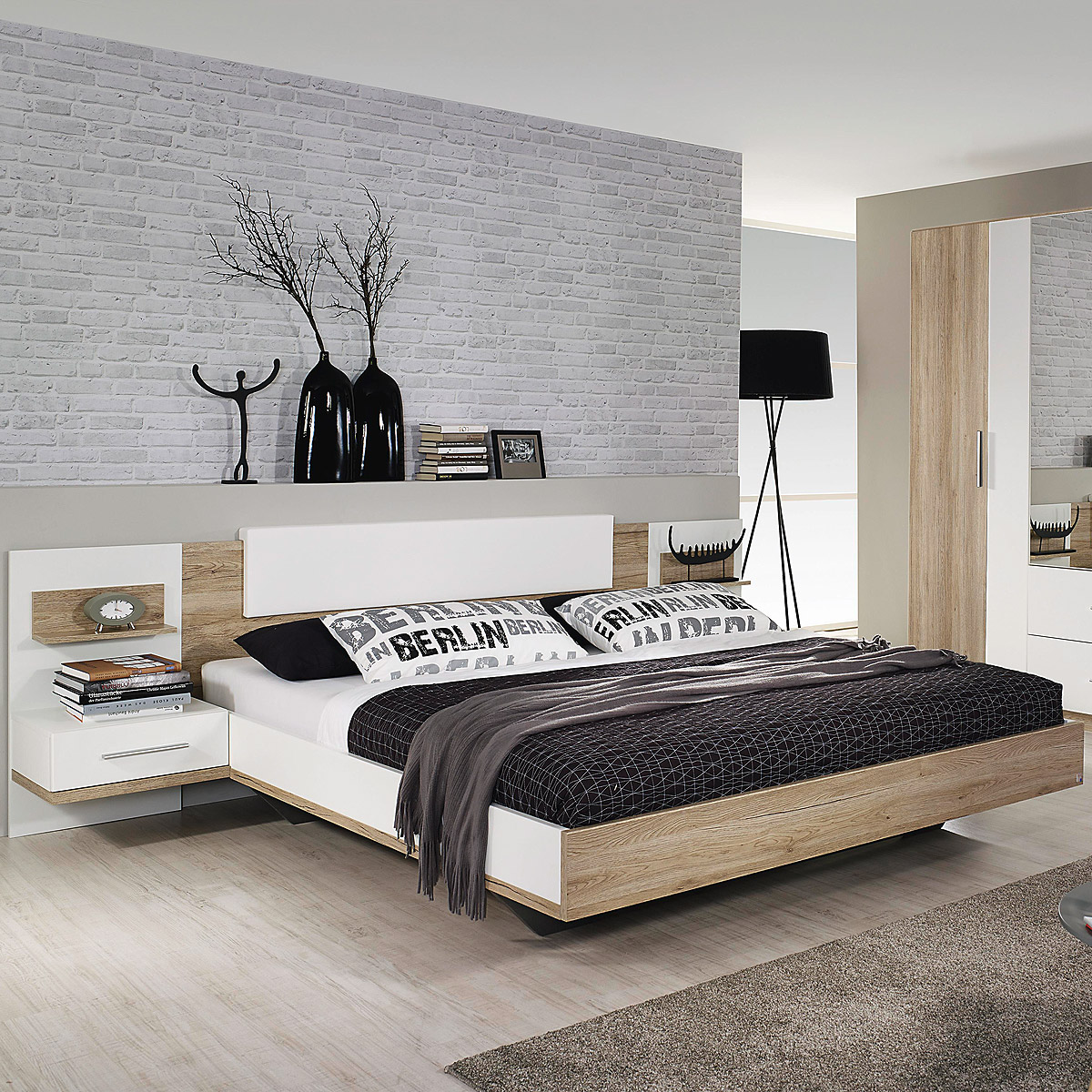 bettanlage bustas bett nako eiche sanremo hell und wei. Black Bedroom Furniture Sets. Home Design Ideas