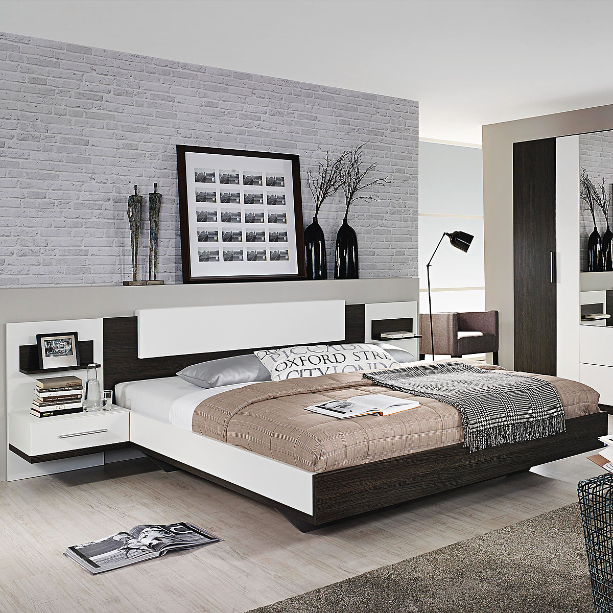 bettanlage bustas bett nako wenge und wei 180x200 cm ebay. Black Bedroom Furniture Sets. Home Design Ideas