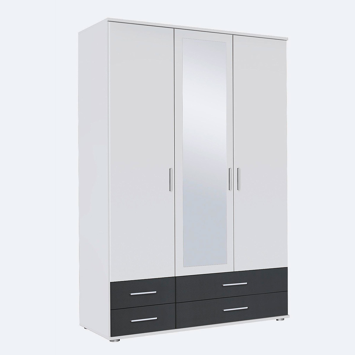 kleiderschrank rasant extra schrank mit spiegel wei grau metallic b 127 cm ebay. Black Bedroom Furniture Sets. Home Design Ideas