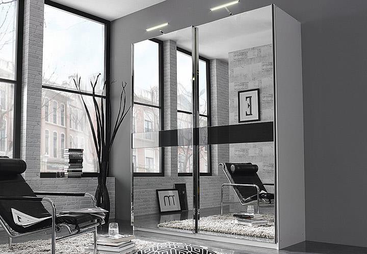 Kleiderschrank weiß schwarz mit spiegel  Kleiderschrank Bayamo Schrank Spiegel weiß Glas schwarz B 181 cm ...