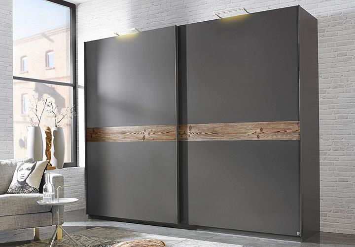kleiderschrank bayamo schrank graphit und l rche natur b 270 cm. Black Bedroom Furniture Sets. Home Design Ideas