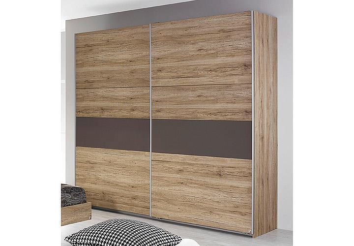 schlafzimmer almada set bett nakos kleiderschrank eiche sanremo hell lavagrau ebay. Black Bedroom Furniture Sets. Home Design Ideas