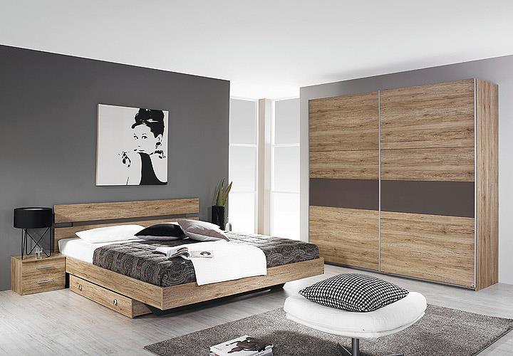 schlafzimmer almada set bett nakos kleiderschrank eiche sanremo hell lavagrau eur 449 95. Black Bedroom Furniture Sets. Home Design Ideas