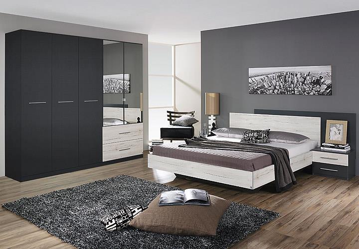 schlafzimmer saragossa schrank bettanlage grau-metallic eiche ... - Schlafzimmer Weis Grau