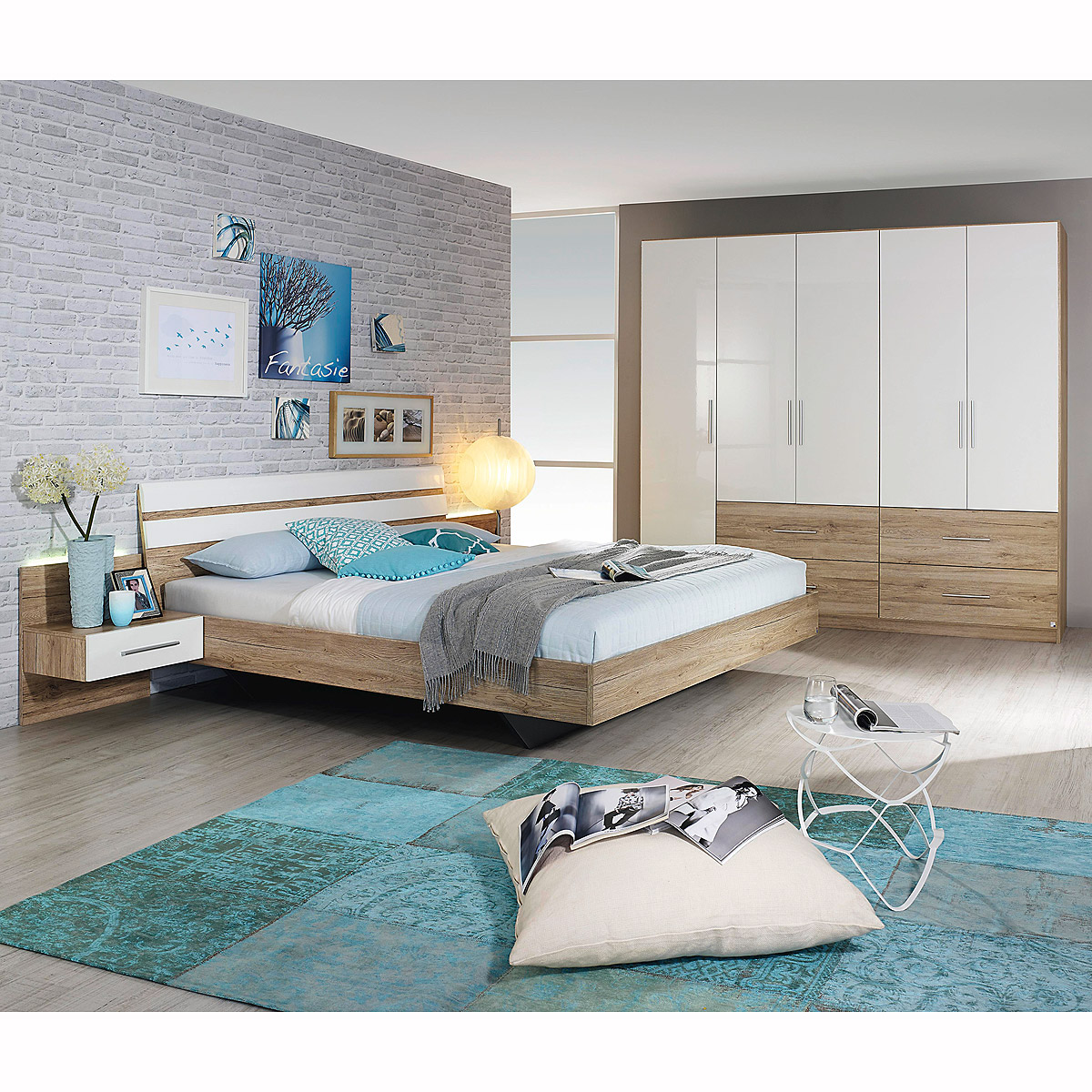 schlafzimmer pedroso schrank bett eiche sanremo hell wei. Black Bedroom Furniture Sets. Home Design Ideas