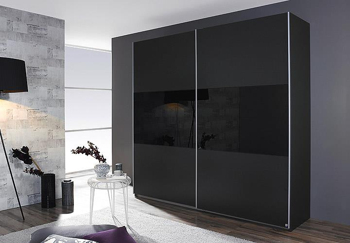 schwebet renschrank loriga grau metallic glas schwarz b. Black Bedroom Furniture Sets. Home Design Ideas