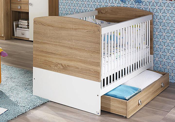 babybett indira babyzimmer eiche sonoma wei 140x70 cm. Black Bedroom Furniture Sets. Home Design Ideas