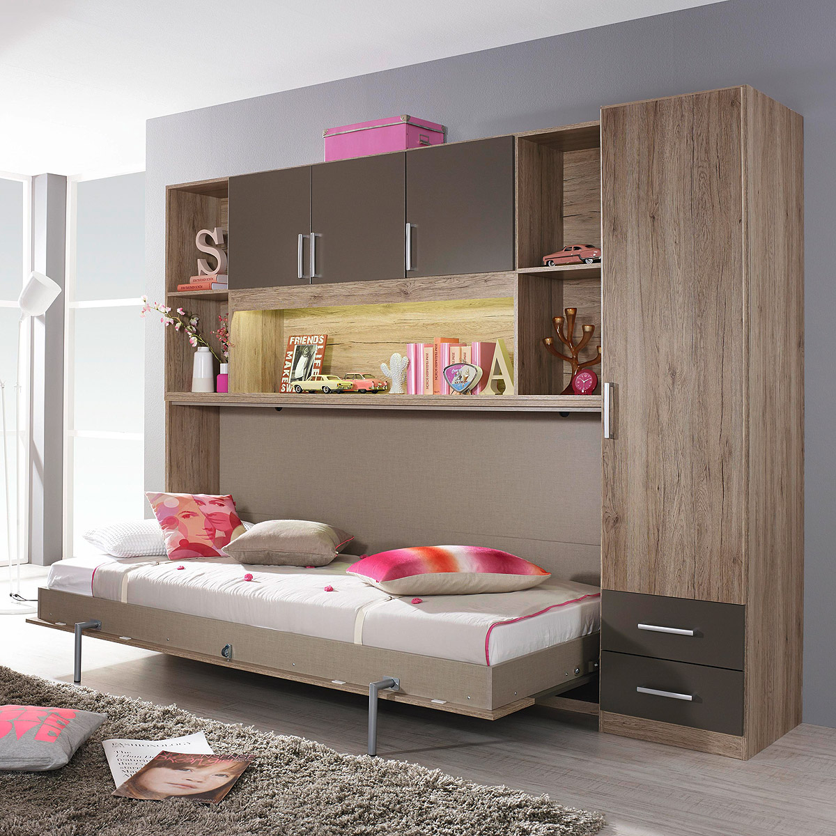 klappbett set albero bett regal kleiderschrank eiche sanremo lavagrau 90x200 cm ebay. Black Bedroom Furniture Sets. Home Design Ideas