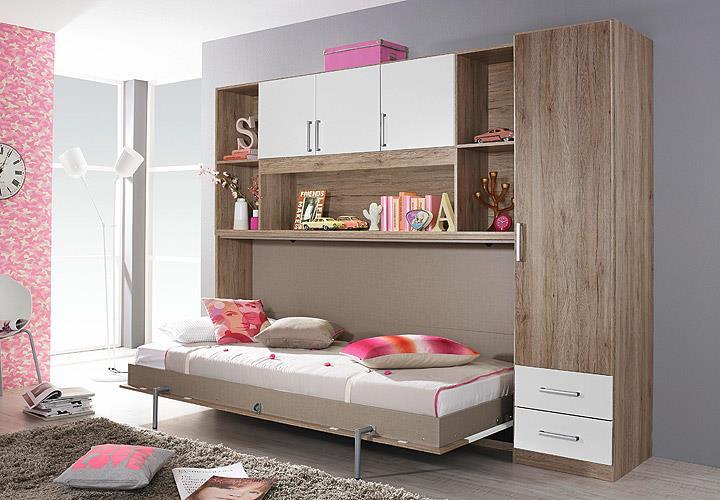 klappbett set albero bett kleiderschrank regal eiche. Black Bedroom Furniture Sets. Home Design Ideas