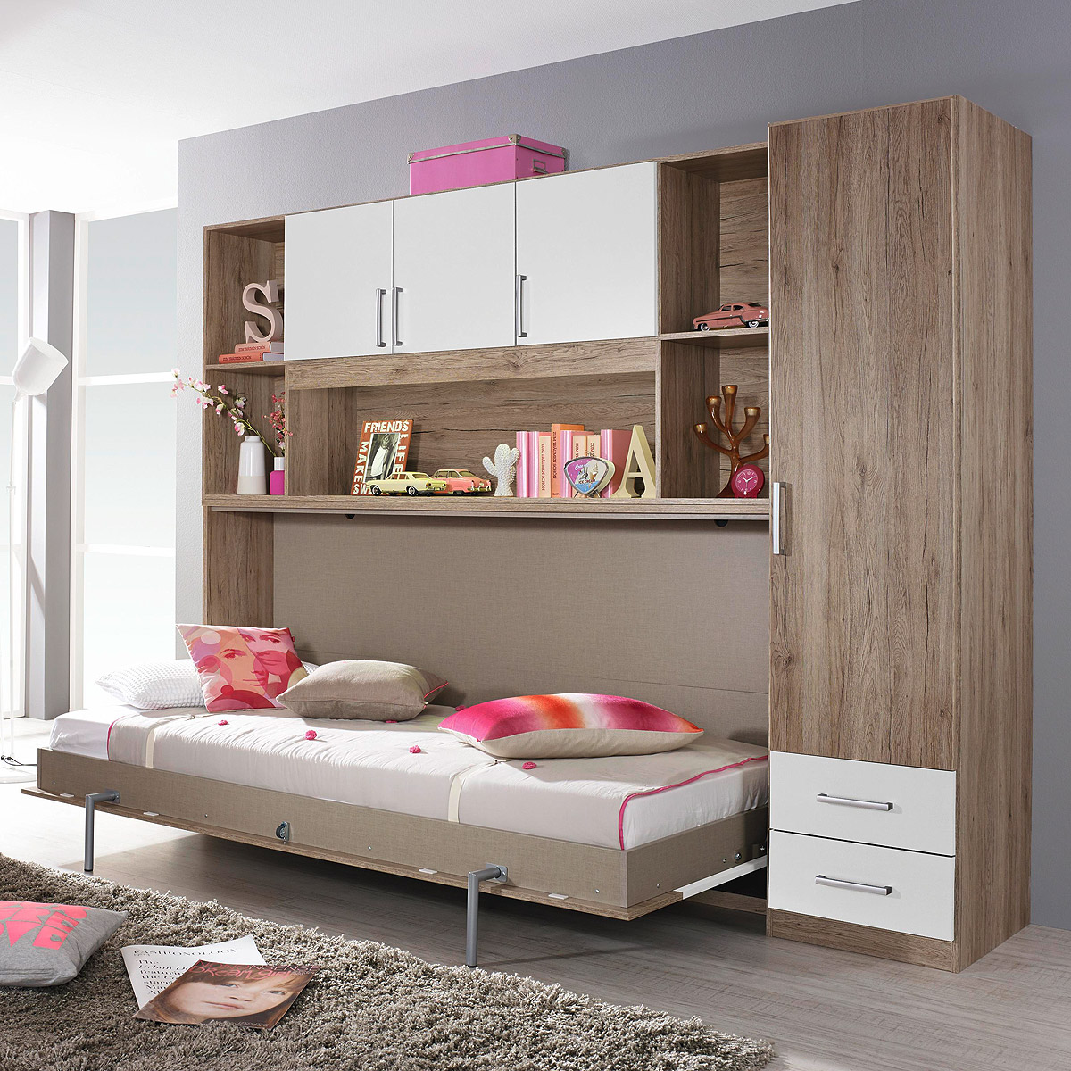 klappbett set albero bett kleiderschrank regal eiche sanremo wei 90x200 cm ebay. Black Bedroom Furniture Sets. Home Design Ideas