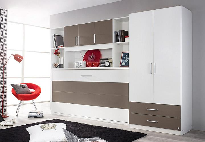 klappbett set albero bett kleiderschrank regal wei lavagrau 90x200 cm. Black Bedroom Furniture Sets. Home Design Ideas