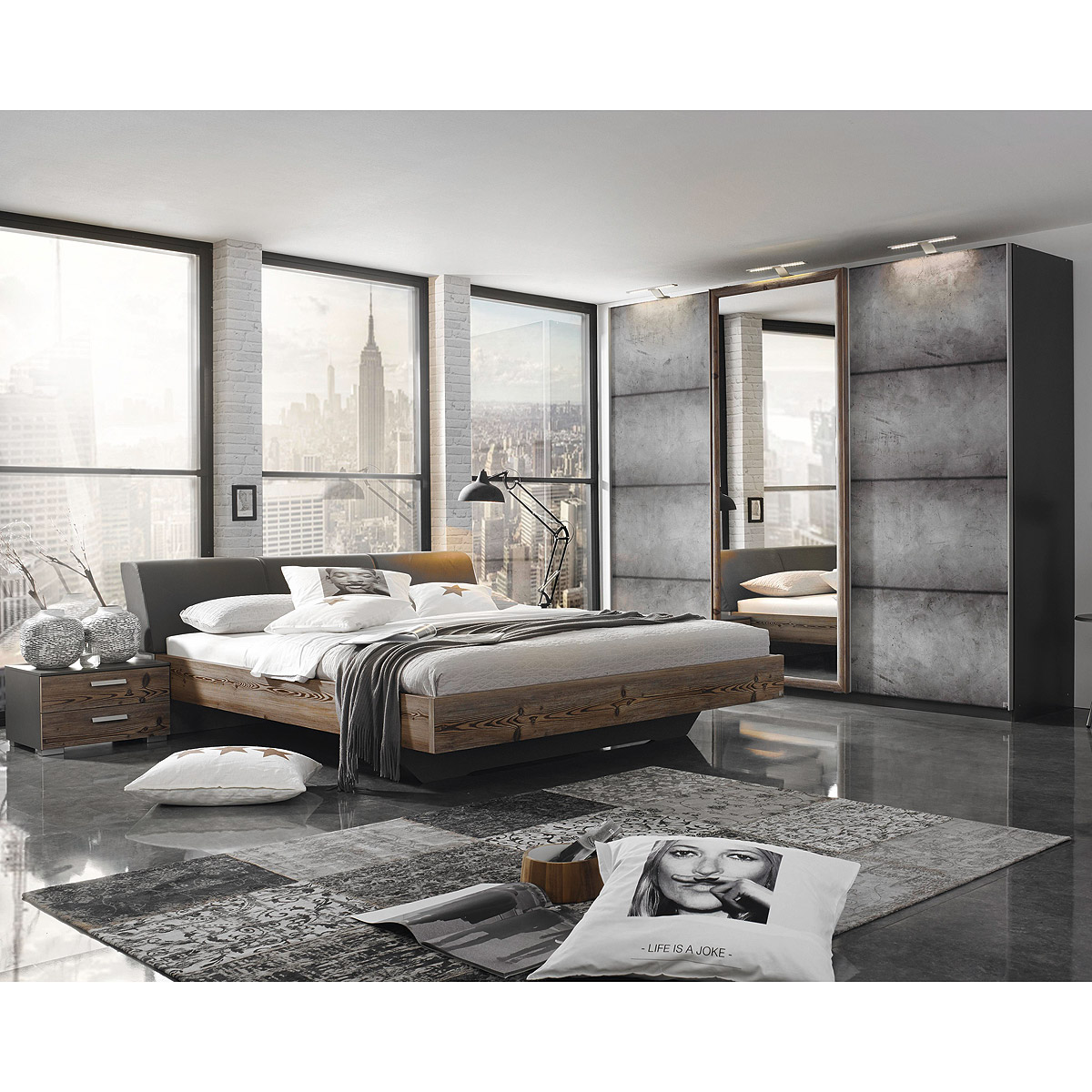schlafzimmer set streetway kleiderschrank bett nakos l rche basalt beton optik ebay. Black Bedroom Furniture Sets. Home Design Ideas