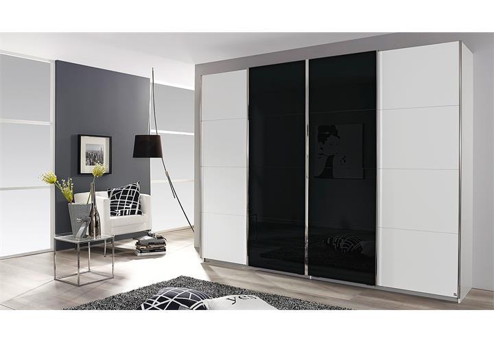 schwebet renschrank syncrono kleiderschrank schrank wei und glas schwarz 271 cm ebay. Black Bedroom Furniture Sets. Home Design Ideas