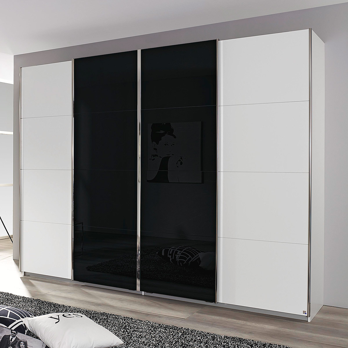 schwebet renschrank syncrono kleiderschrank schrank wei. Black Bedroom Furniture Sets. Home Design Ideas