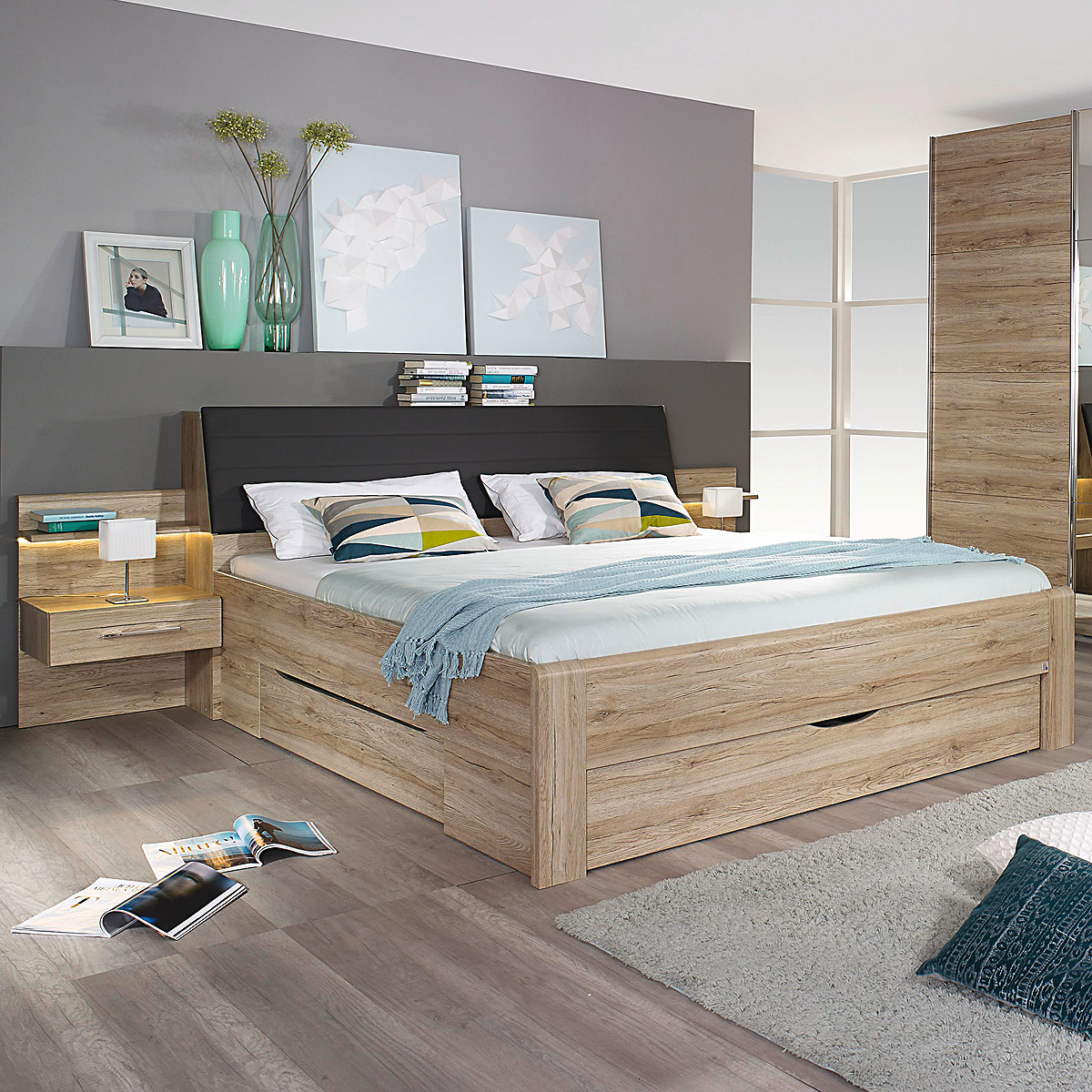 bettanlage bensheim eiche sanremo hell inkl nachtkonsolen 180x200 cm ebay. Black Bedroom Furniture Sets. Home Design Ideas