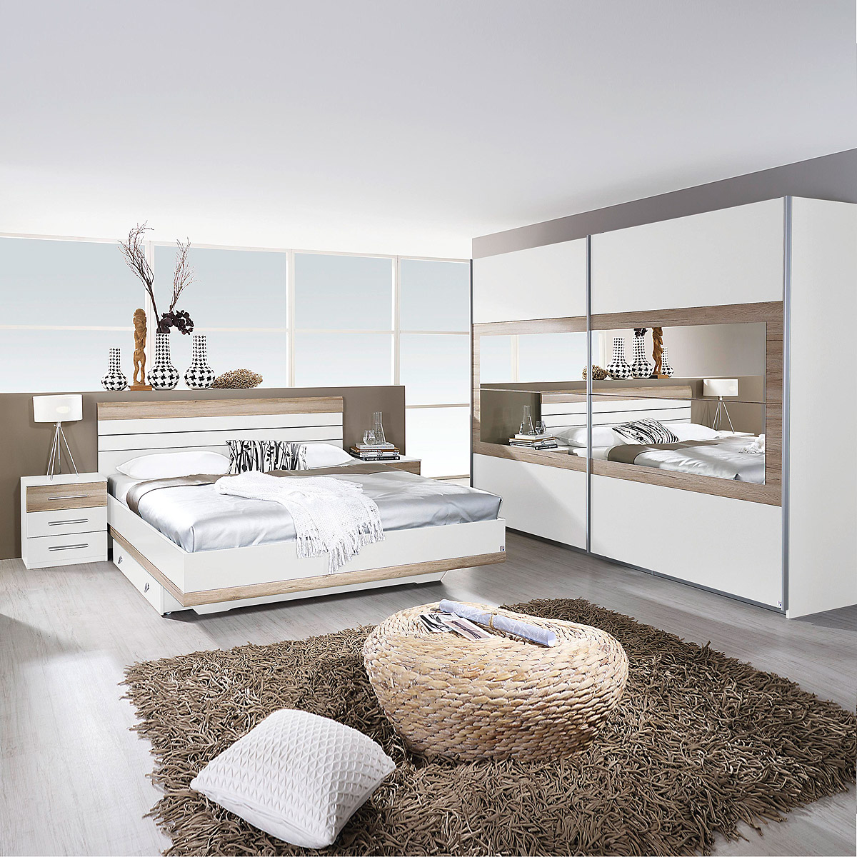 schlafzimmer set tarragona bett nakos kleiderschrank wei eiche sanremo hell 180 ebay. Black Bedroom Furniture Sets. Home Design Ideas