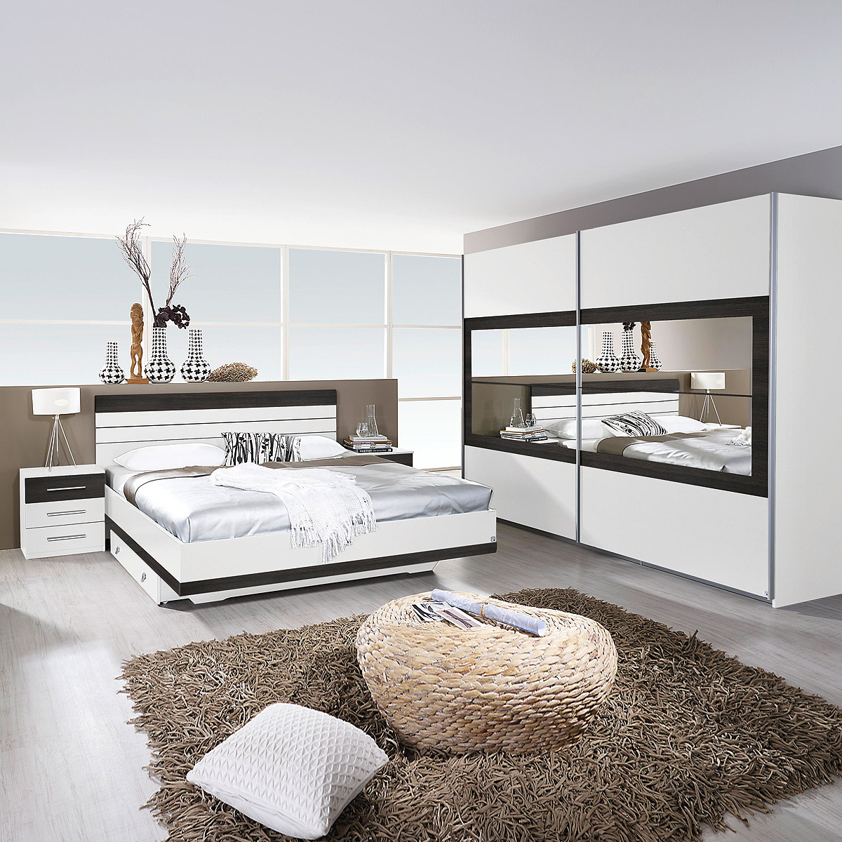 schlafzimmer set tarragona bett nakos kleiderschrank wei. Black Bedroom Furniture Sets. Home Design Ideas