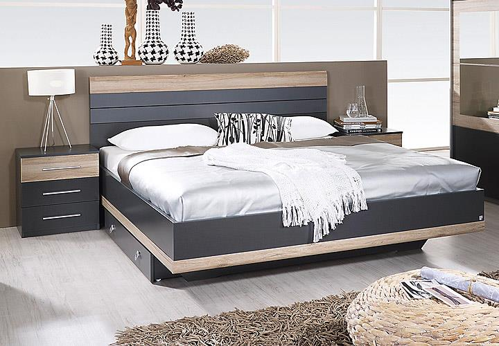 bettanlage tarragona bett nakos grau metallic eiche sanremo hell 180x200 cm eur 248 95. Black Bedroom Furniture Sets. Home Design Ideas