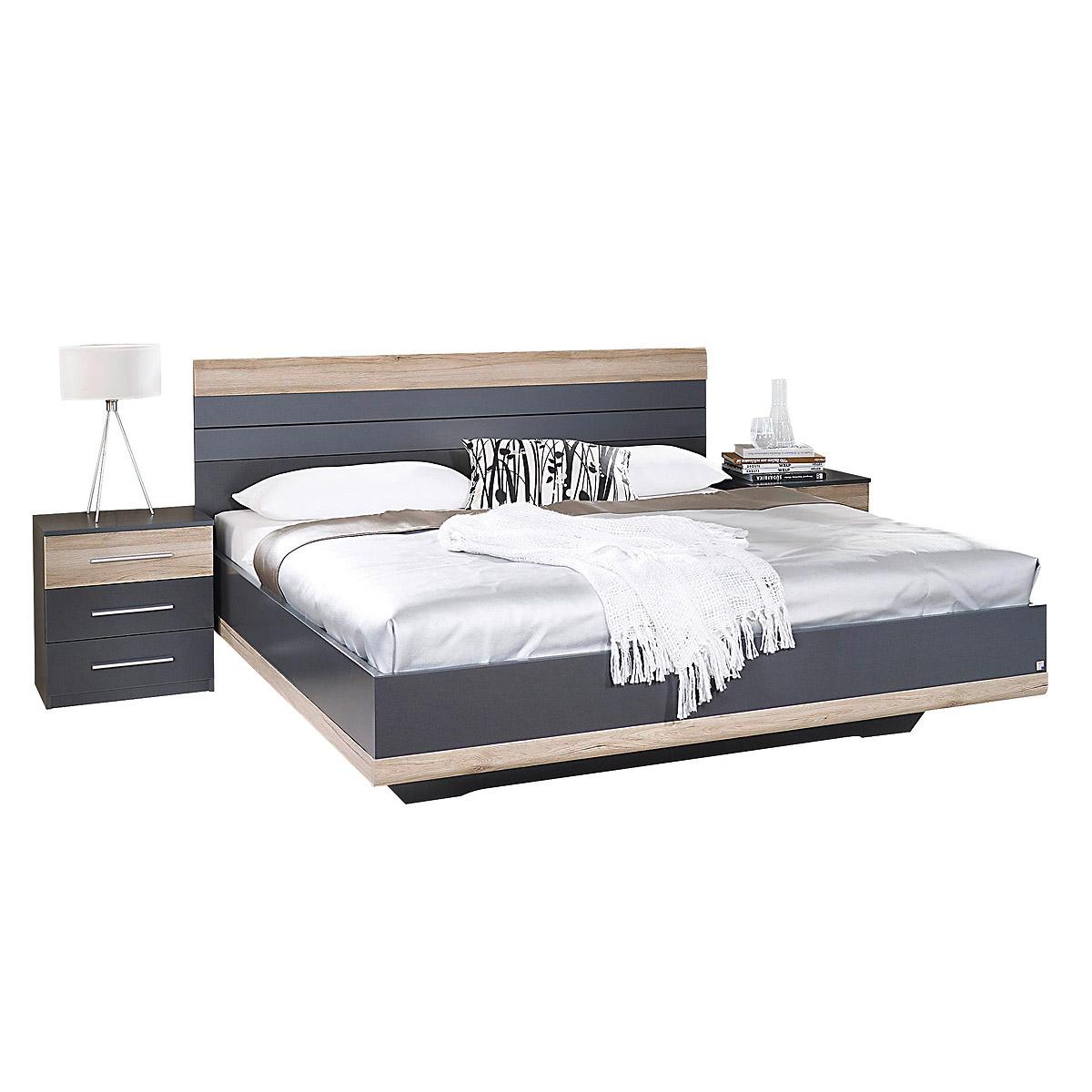 bettanlage tarragona bett nakos grau metallic eiche sanremo hell 180x200 cm eur 248 95. Black Bedroom Furniture Sets. Home Design Ideas