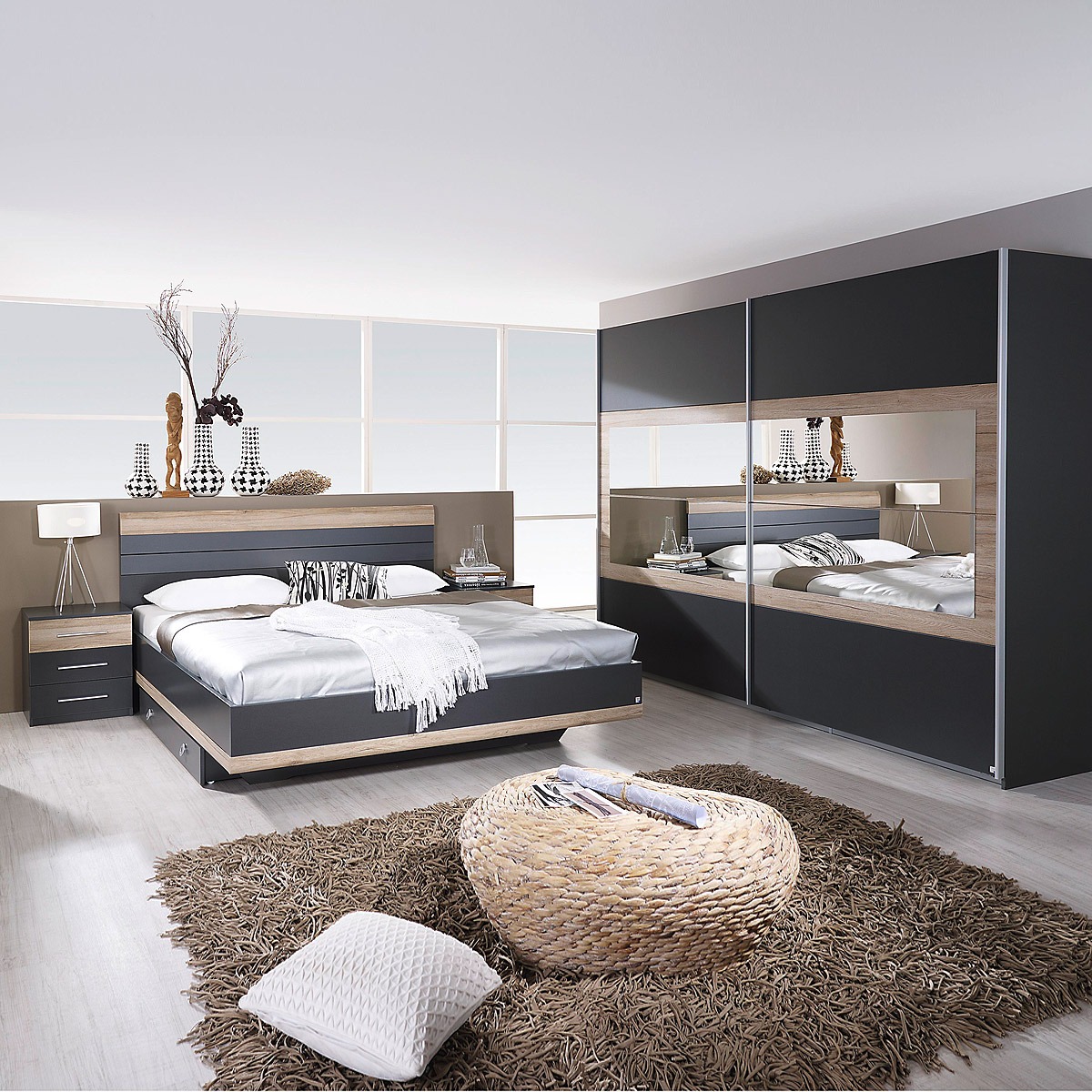 schlafzimmer set tarragona bett nakos kleiderschrank grau metallic eiche sanremo ebay. Black Bedroom Furniture Sets. Home Design Ideas