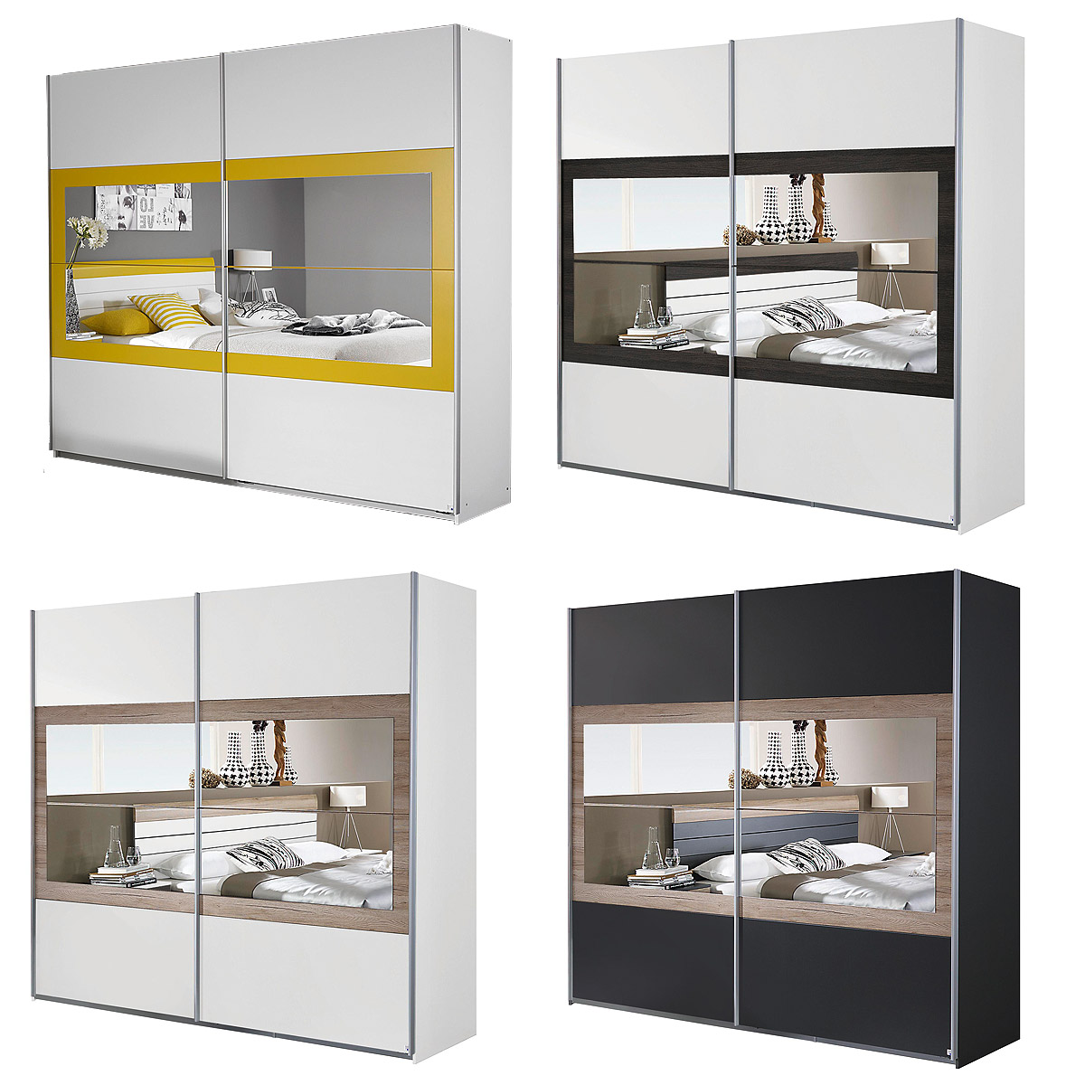 schwebet renschrank tarragona schlafzimmer kleiderschrank 2 t rig mit spiegel ebay. Black Bedroom Furniture Sets. Home Design Ideas