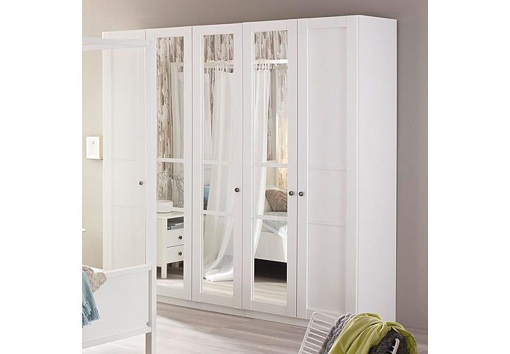 kleiderschrank marit schrank mit spiegel schlafzimmer wei breite 225 cm ebay. Black Bedroom Furniture Sets. Home Design Ideas