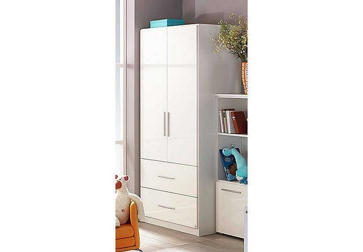 kleiderschrank manja kinderzimmer jugendzimmer wei hochglanz b 91 cm ebay. Black Bedroom Furniture Sets. Home Design Ideas
