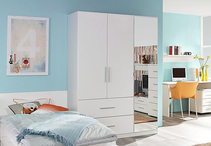 jugendzimmer set manja bett kleiderschrank schreibtsch nako 5 teilig wei hochgl ebay. Black Bedroom Furniture Sets. Home Design Ideas