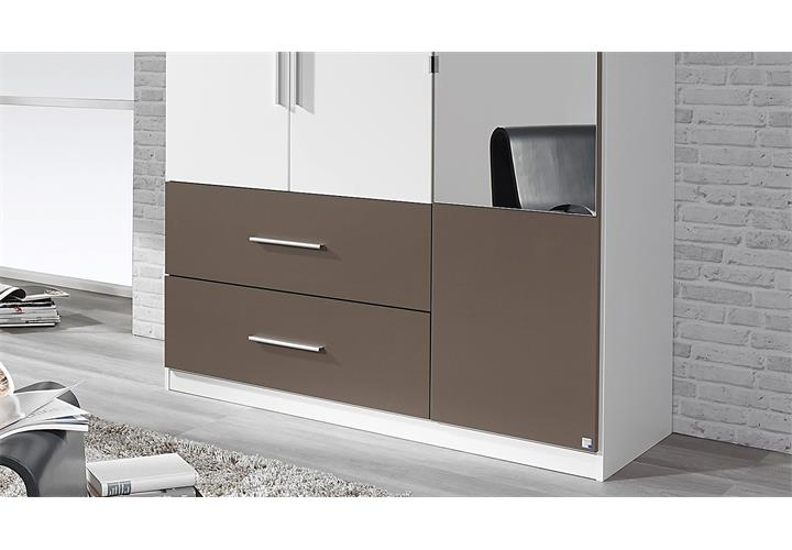 kleiderschrank alvor schrank f r schlafzimmer wei lavagrau mit spiegel 136 cm. Black Bedroom Furniture Sets. Home Design Ideas