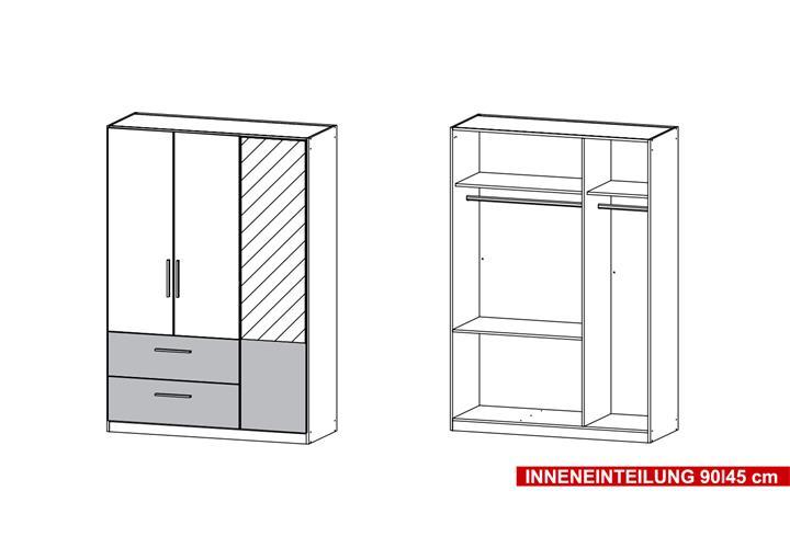 kleiderschrank alvor schrank f r schlafzimmer wei grau metallic spiegel 136 cm ebay. Black Bedroom Furniture Sets. Home Design Ideas