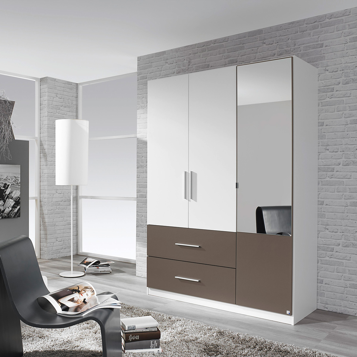 kleiderschrank alvor schrank f r schlafzimmer wei lavagrau mit spiegel 136 cm eur 184 95. Black Bedroom Furniture Sets. Home Design Ideas