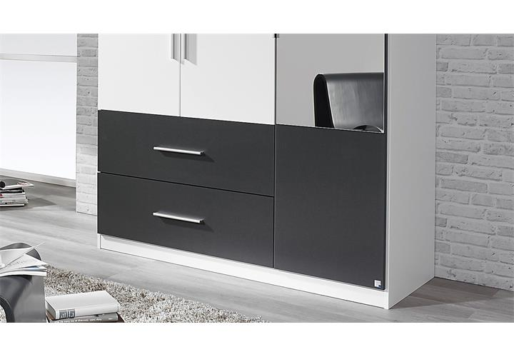 kleiderschrank alvor schrank f r schlafzimmer wei grau metallic spiegel 136 cm ebay. Black Bedroom Furniture Sets. Home Design Ideas