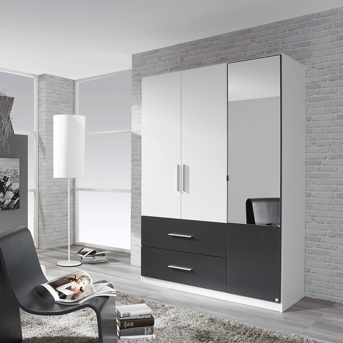 kleiderschrank alvor schrank f r schlafzimmer wei grau metallic spiegel 136 cm. Black Bedroom Furniture Sets. Home Design Ideas