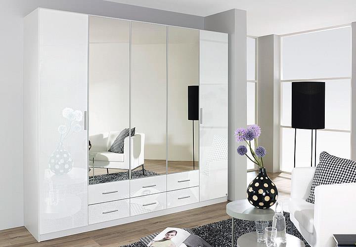 Kleiderschrank hilden schrank schlafzimmer wei hochglanz b 225 cm ebay - Keine spiegel im schlafzimmer ...