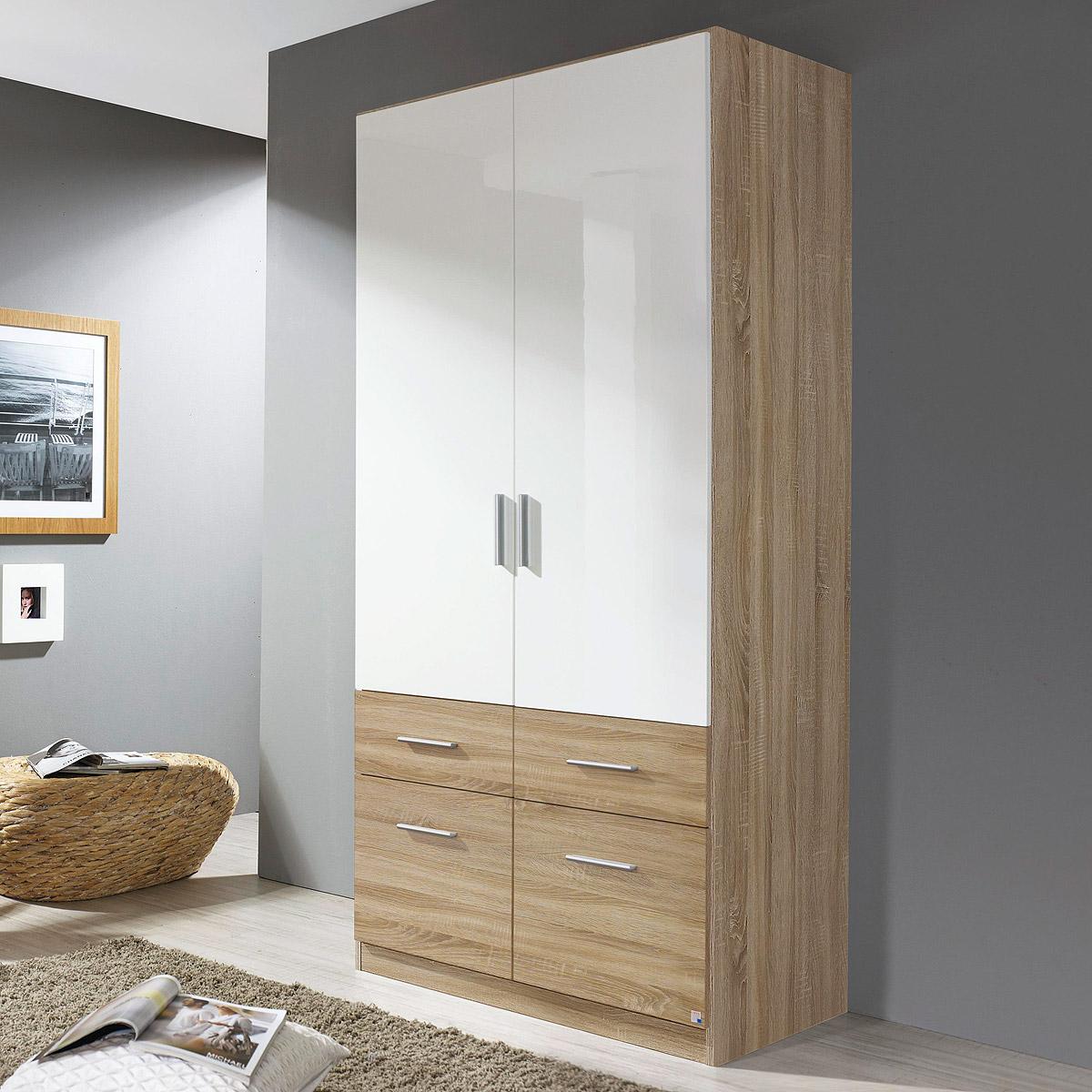 kleiderschrank celle extra schrank schlafzimmer wei hochglanz eiche sonoma b 91 ebay. Black Bedroom Furniture Sets. Home Design Ideas