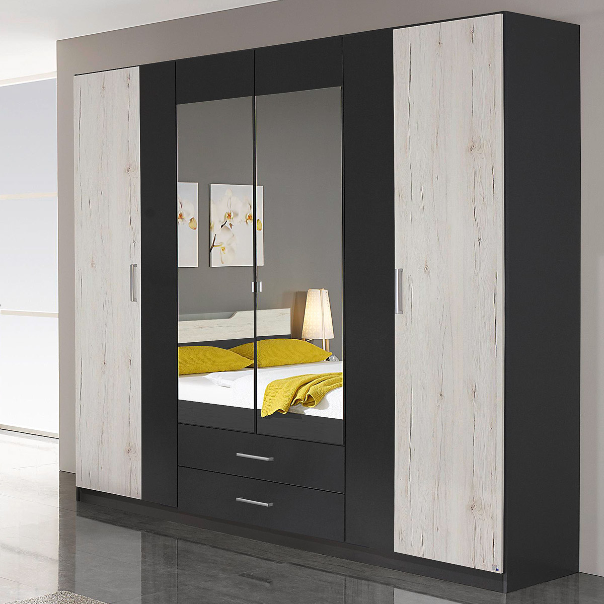 kleiderschrank cartagena schrank grau metallic eiche sanremo wei 226 cm ebay. Black Bedroom Furniture Sets. Home Design Ideas