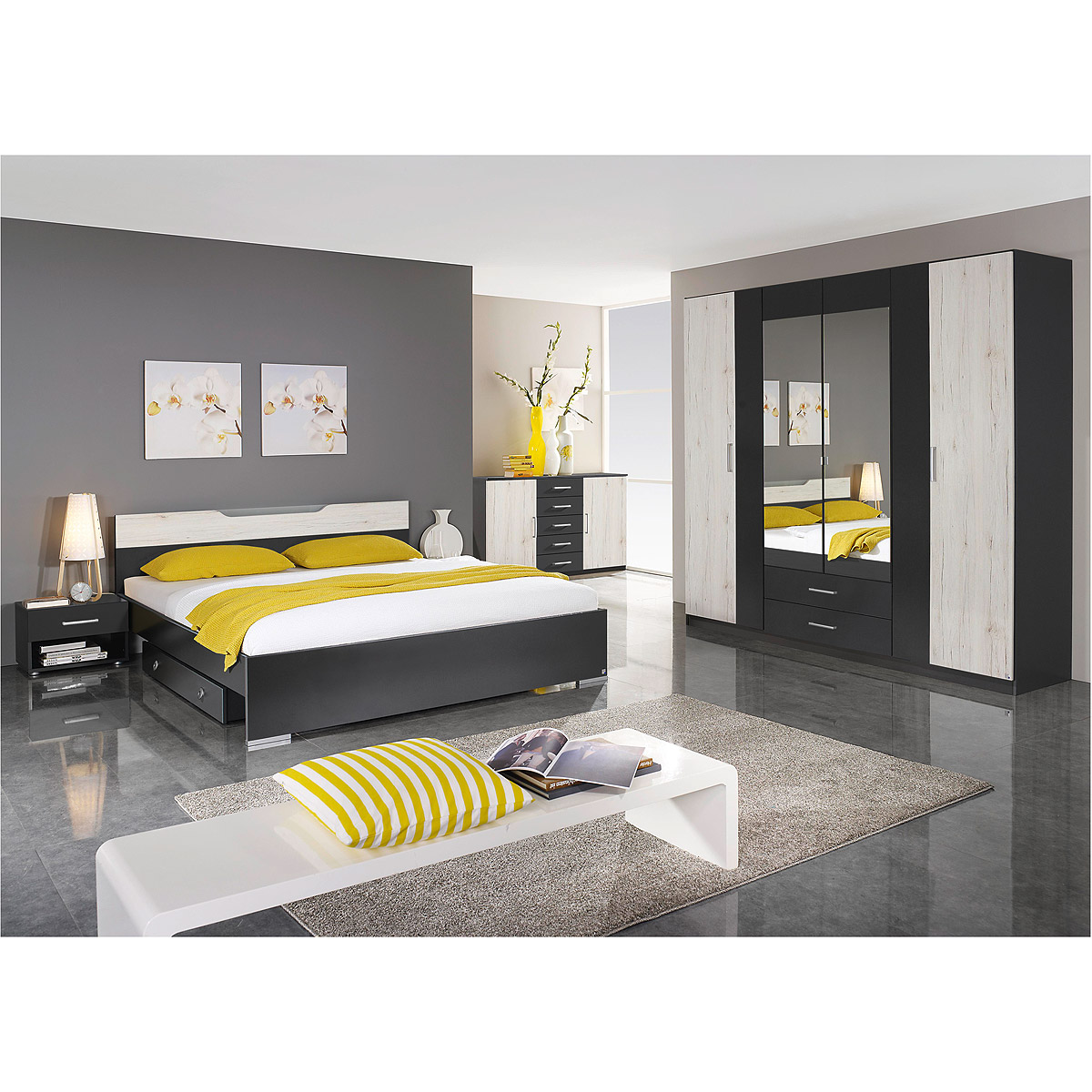 schlafzimmer set cartagena bett nako schrank grau metallic eiche sanremo wei ebay. Black Bedroom Furniture Sets. Home Design Ideas